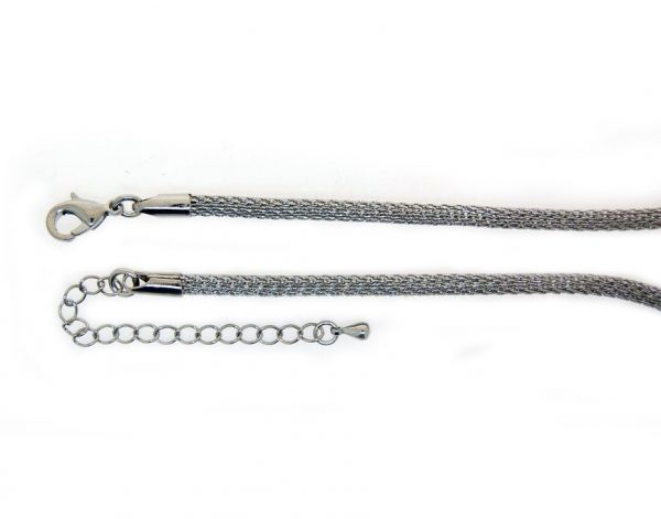 Knitted chain necklace Antique Silver plate 3mm
