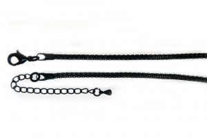 Knitted chain necklace black plate 2.5mm