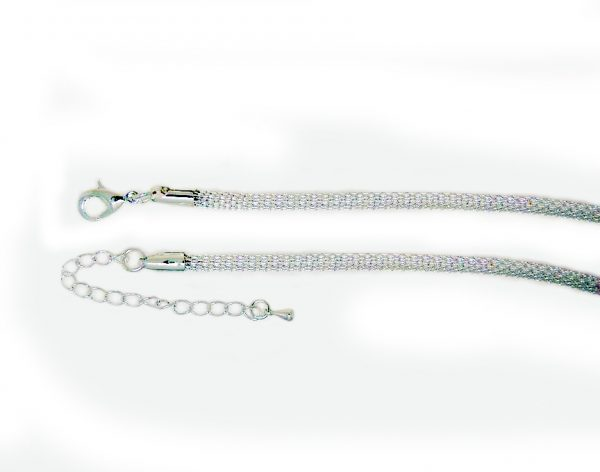Knitted chain necklace silver plate 3mm
