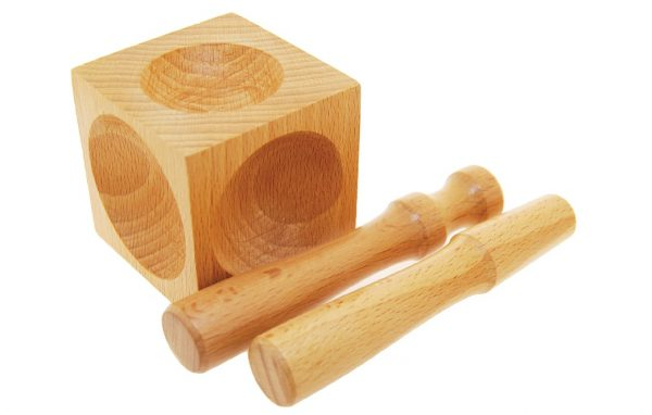 Wooden Dapping Block with 2 Punches