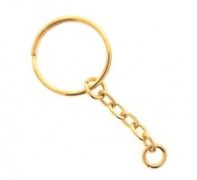 25mm Gilt Split Ring & Chain per100