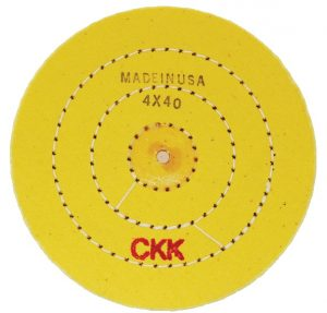 "POLISHING Wheel Stitched Yellow treated Buff wheel 4""x40 Ply"
