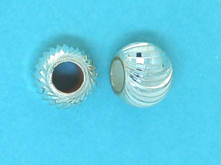 Bead Sterling Silver 7mm Corrugated Round Space