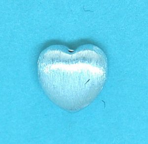 Brushed Bead Sterling Silver 10mm Heart