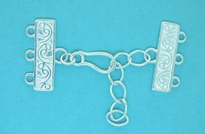 3 Strand Clasp Sterling Silver With Hook & Chain