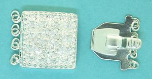 4 Strands Square Fancy Silver 15mm