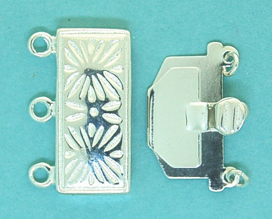 Clasp Sterling Silver 20mm 3 Strand Fancy Silver