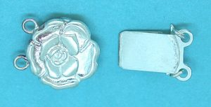 Clasp (Box) Sterling Silver Flower 2 Strand Box