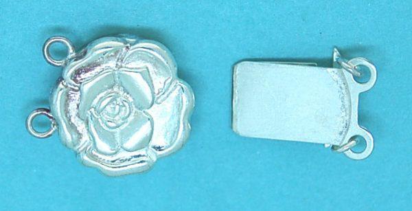 Clasp (Box) Sterling Silver Flower 2 Strand Box