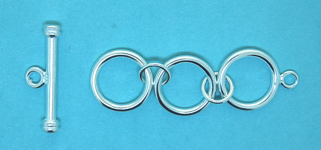 3 Ring Toggle Clasp Sterling Silver