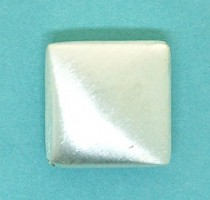 14mm Brushed Sterling Silver Square Bead