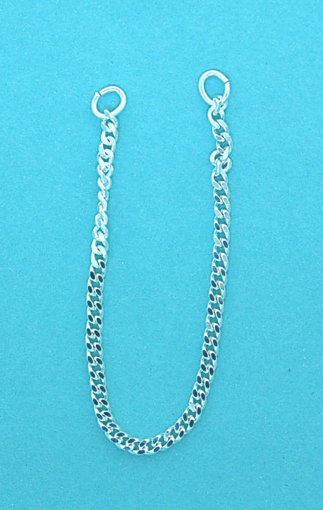 Sterling Silver Dia/Curb Safety Chain