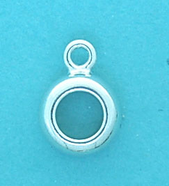 Charm Holder Sterling Silver Scalloped 5x8mm