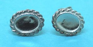 Earring Cabochon Stud Sterling Silver OD 11x9mm