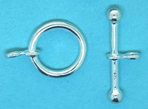 Round Toggle Clasp (14mm round and 23mm stick)   Sterling Silver