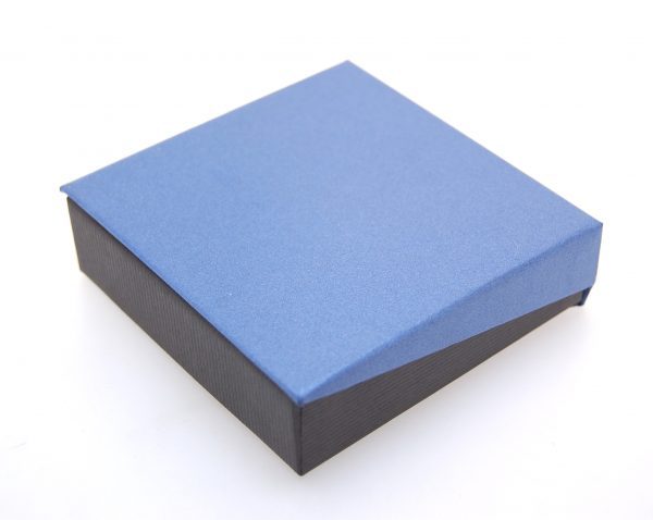 Pendant/Earring Box | Black and Blue (Close)