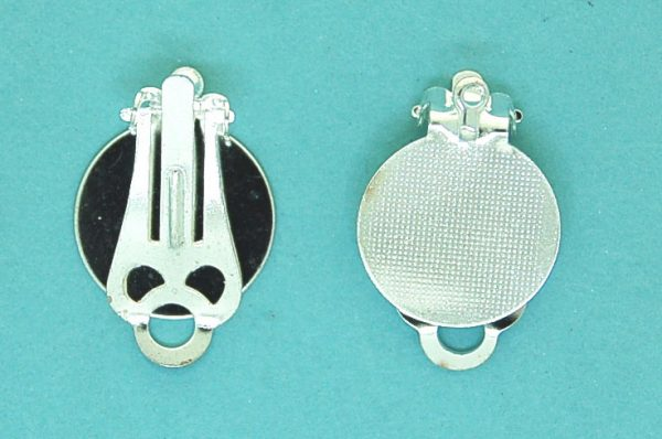 Clip on earring with pad and ring | silver base metal