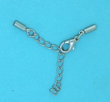 Cord End with parrot clasp | silver base metal