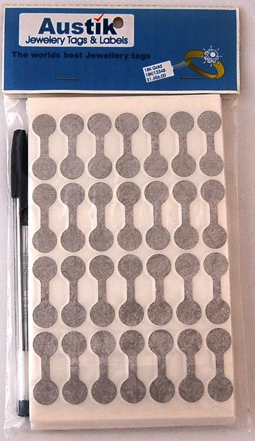 Austik Dumbell Sticky Labels (Silver)