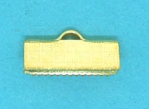 Crimp End Fold Over Gold Plate (15mm)